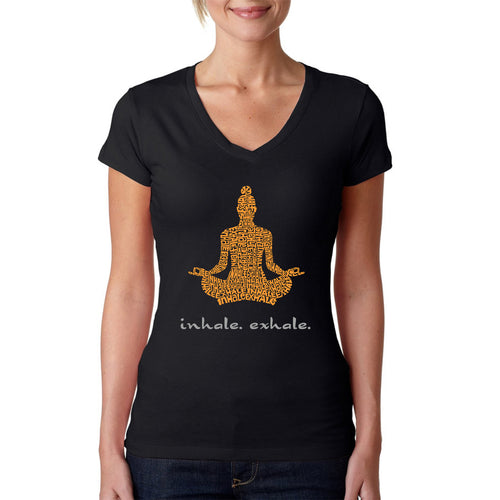 Women's Word Art V-Neck T-Shirt - Inhale Exhale