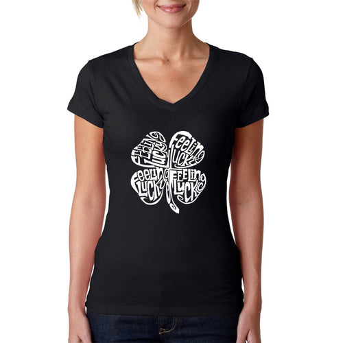 Women's Word Art V-Neck T-Shirt - Feeling Lucky