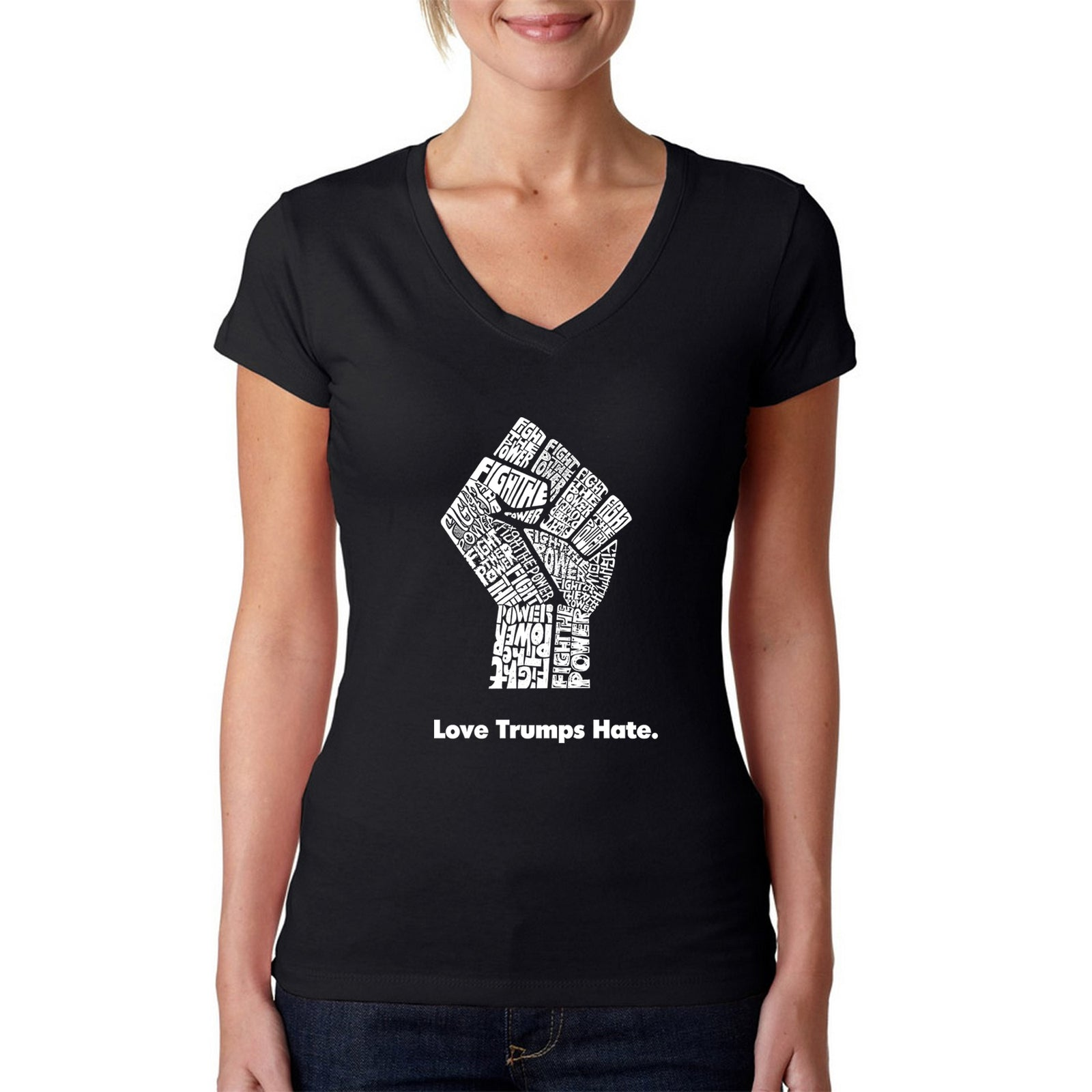 Women's V-Neck T-Shirt - Love Trumps Hate Fist