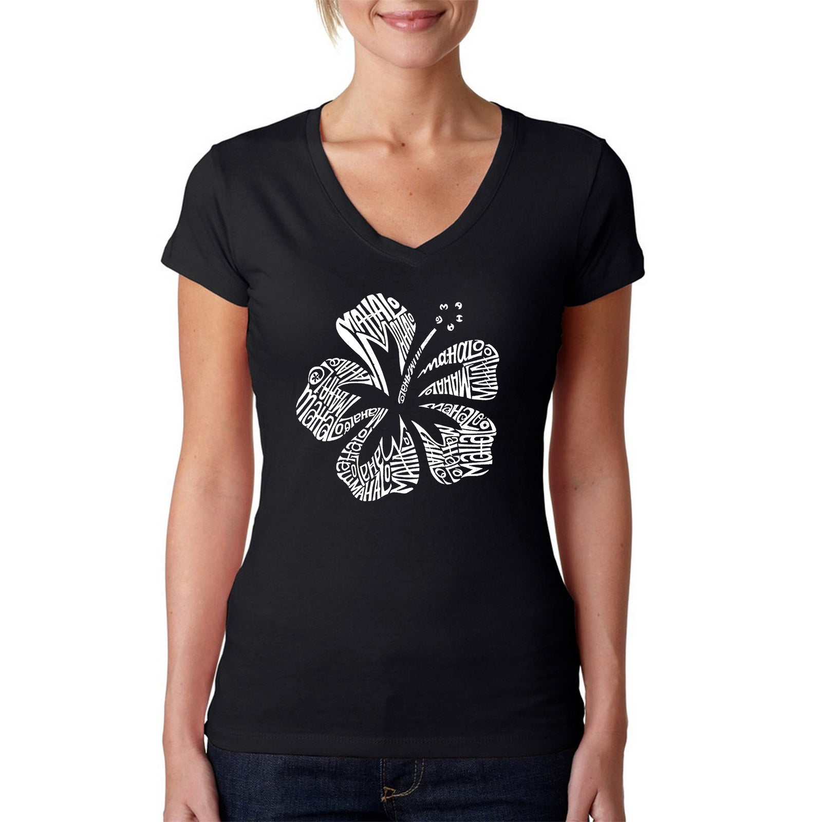 Women's V-Neck T-Shirt - Mahalo