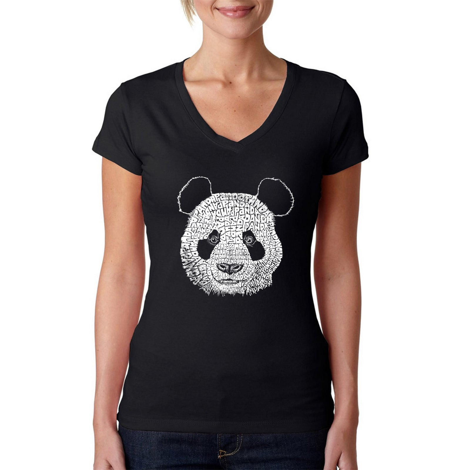 Women's Word Art V-Neck T-Shirt - Panda