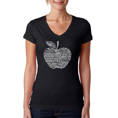 Women's Word Art V-Neck T-Shirt - Neighborhoods in NYC