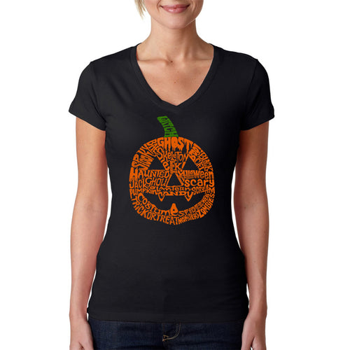 Women's Word Art V-Neck T-Shirt - Halloween Pumpkin
