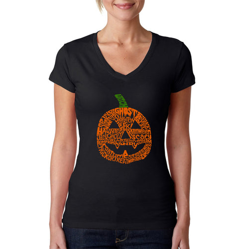 Women's Word Art V-Neck T-Shirt - Pumpkin