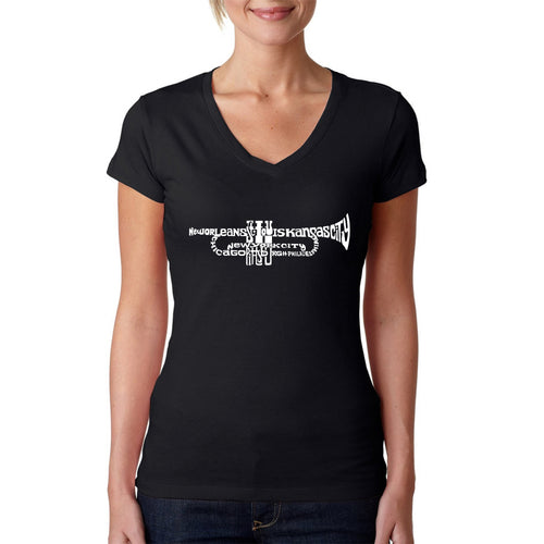 Women's Word Art V-Neck T-Shirt - Trumpet