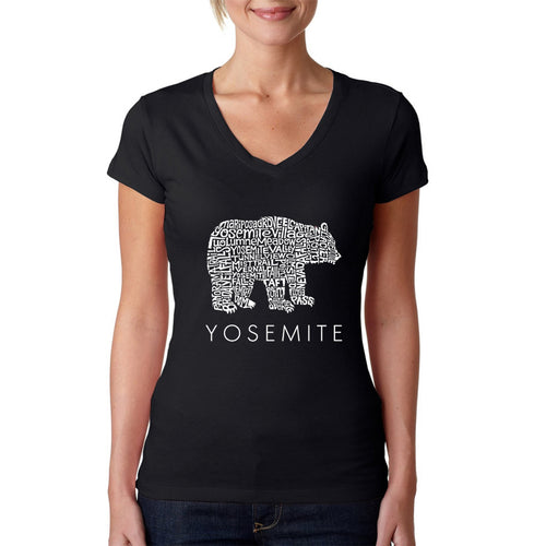 Women's Word Art V-Neck T-Shirt - Yosemite Bear