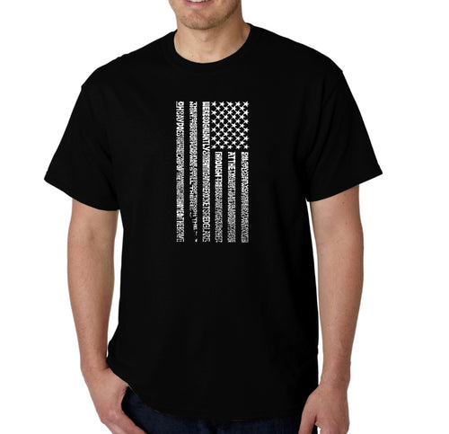LA Pop Art Men's Word Art T-shirt - National Anthem Flag
