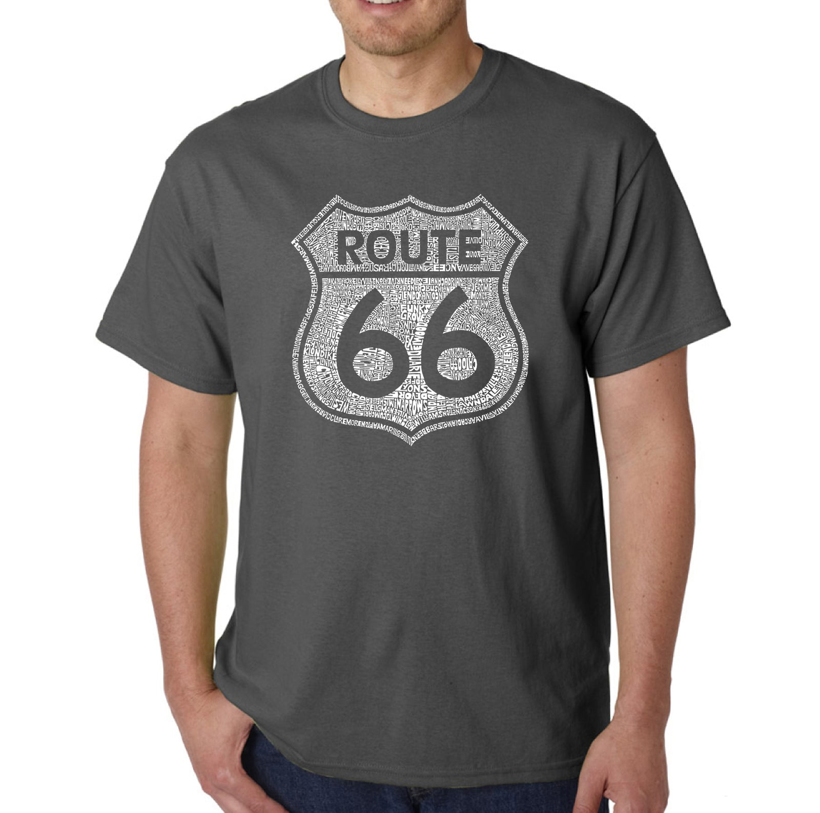 Men's T-shirt - CITIES ALONG THE LEGENDARY ROUTE 66