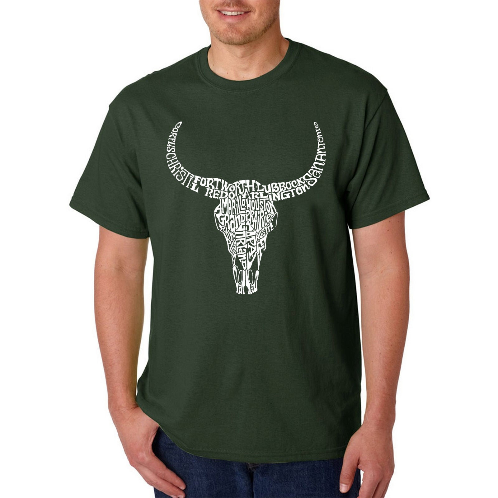LA Pop Art Men's Word Art T-shirt - Texas Skull