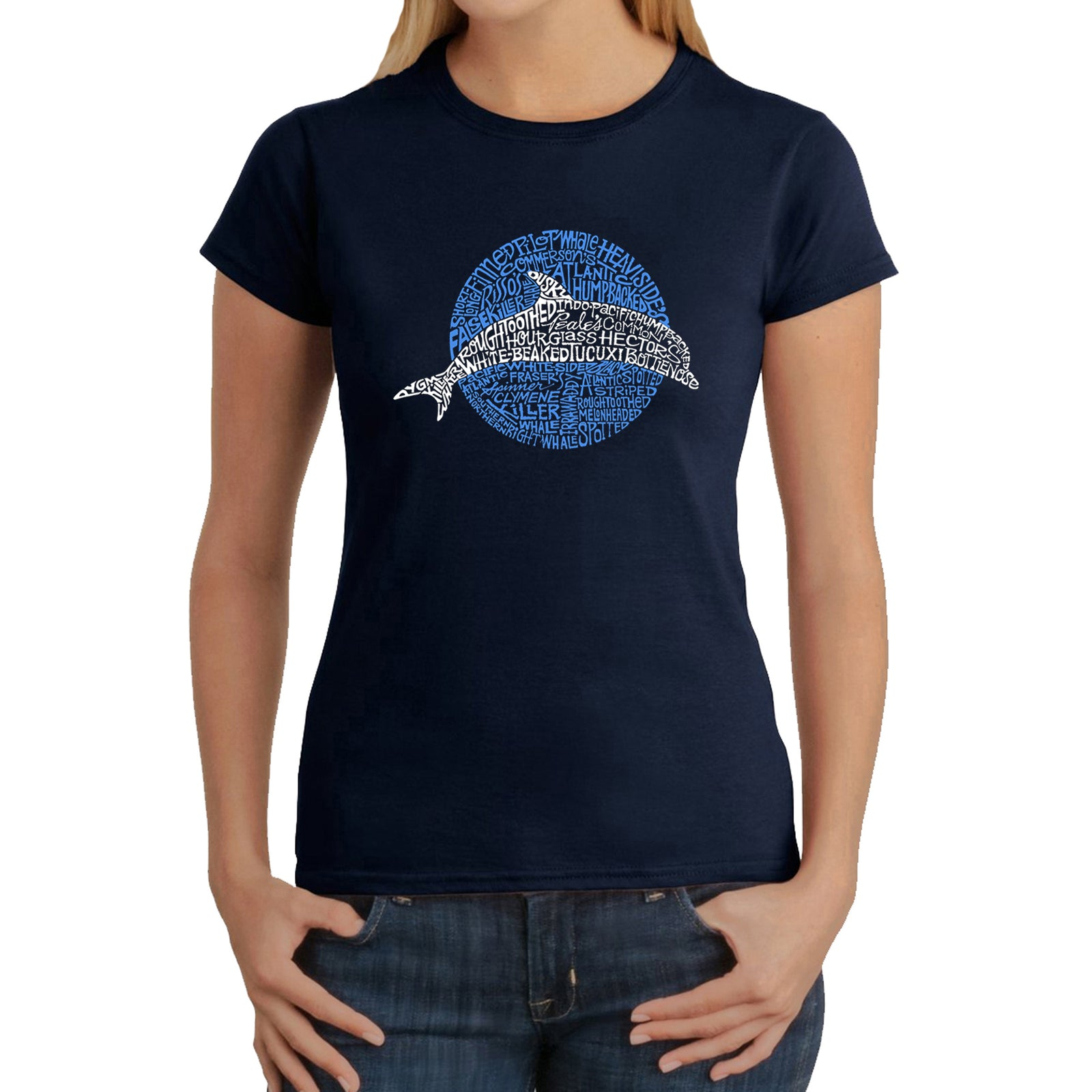 Women's Word Art T-Shirt - Species of Dolphin