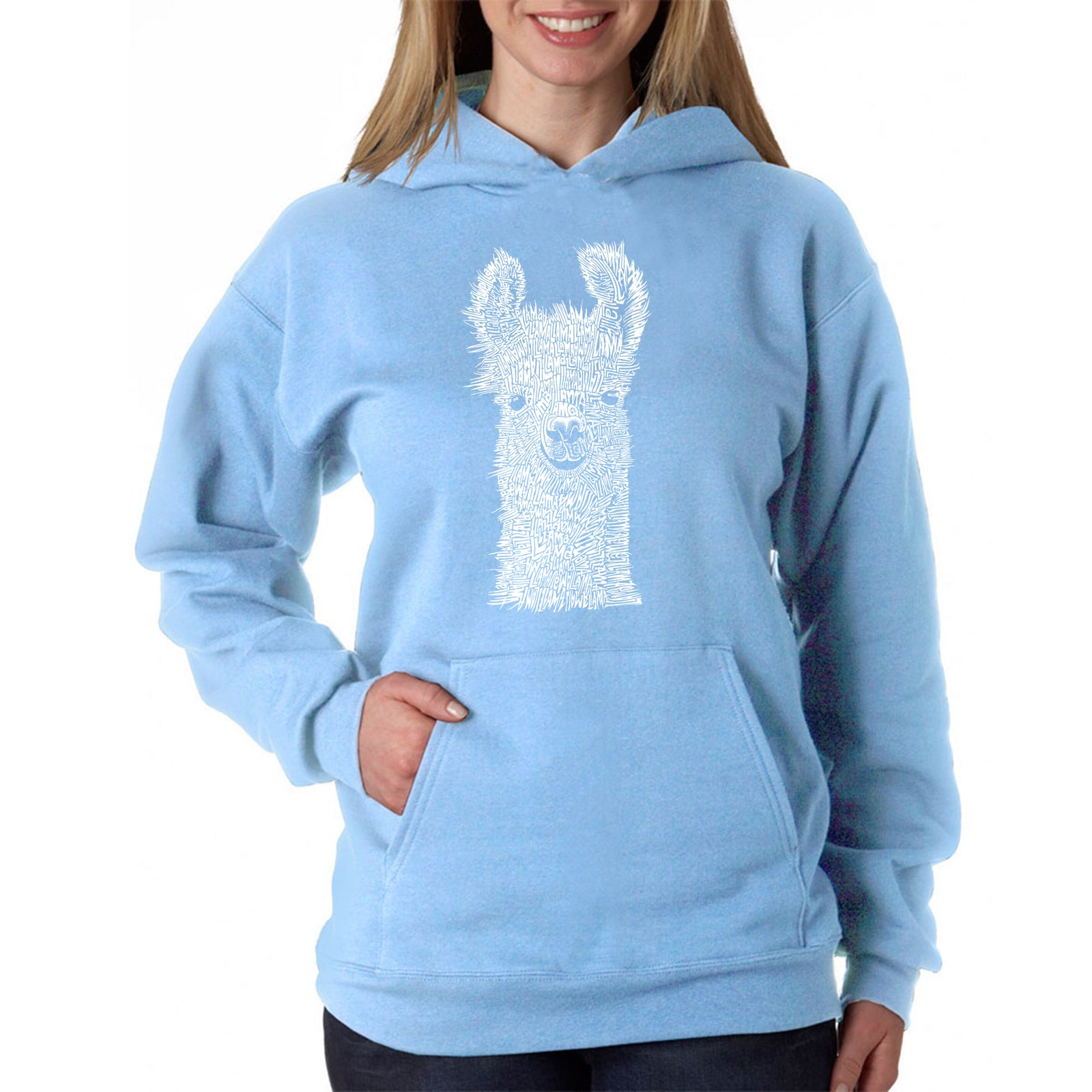 Women's Word Art Hooded Sweatshirt -Llama