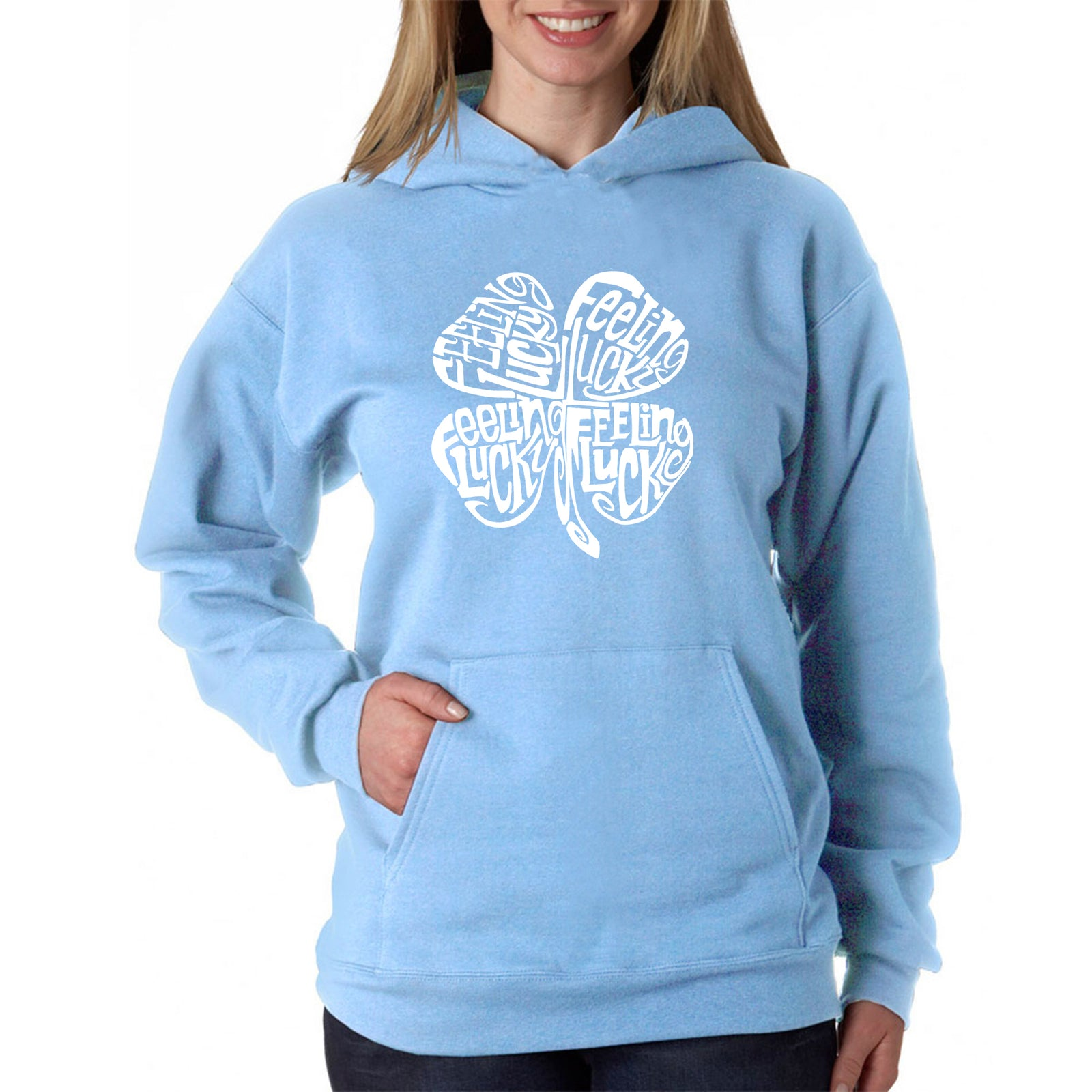 Women's Word Art Hooded Sweatshirt -Feeling Lucky