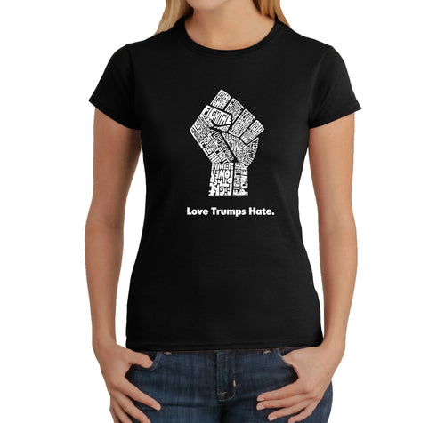 Women's T-Shirt - Love Trumps Hate Fist