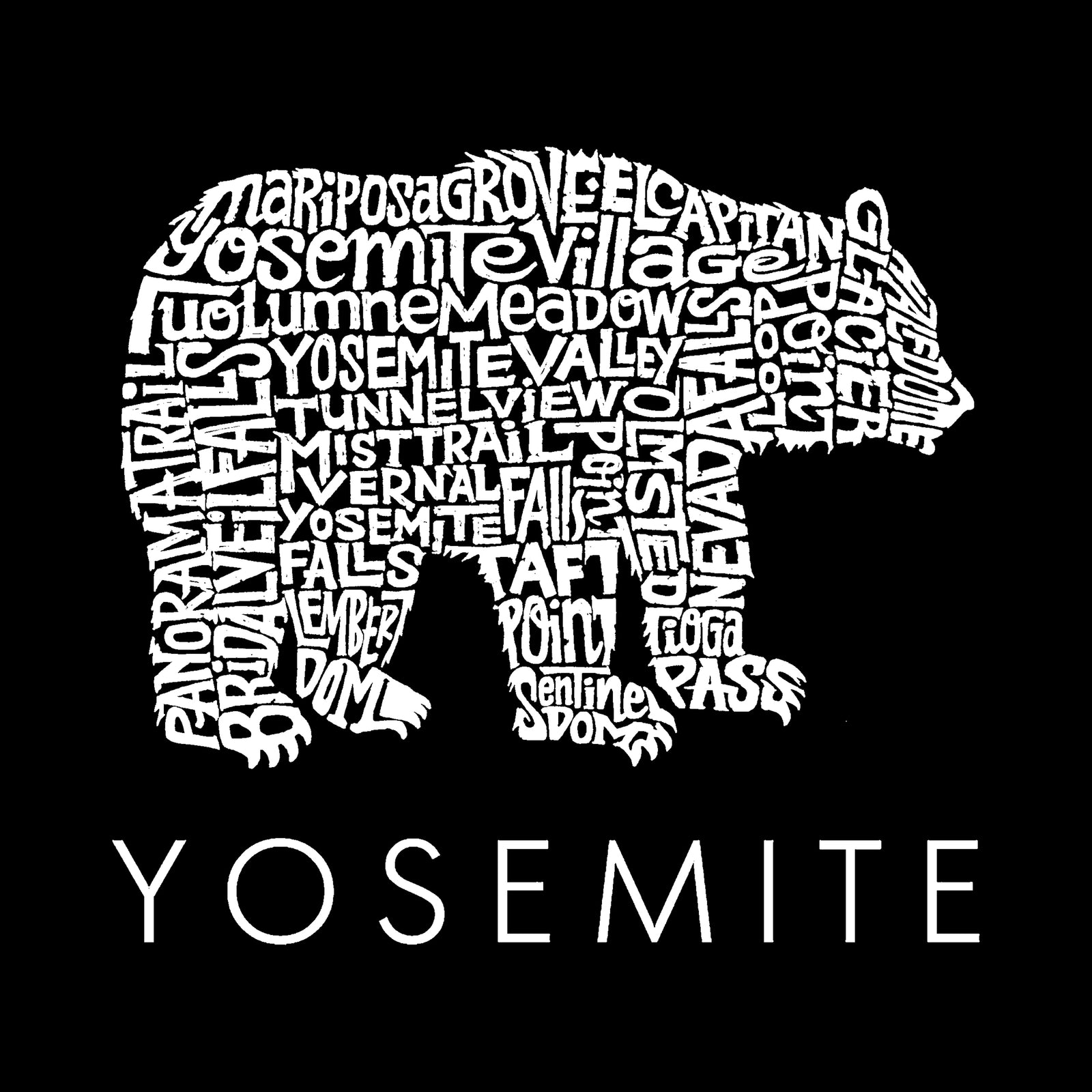 Men's Word Art Long Sleeve T-shirt - Yosemite Bear