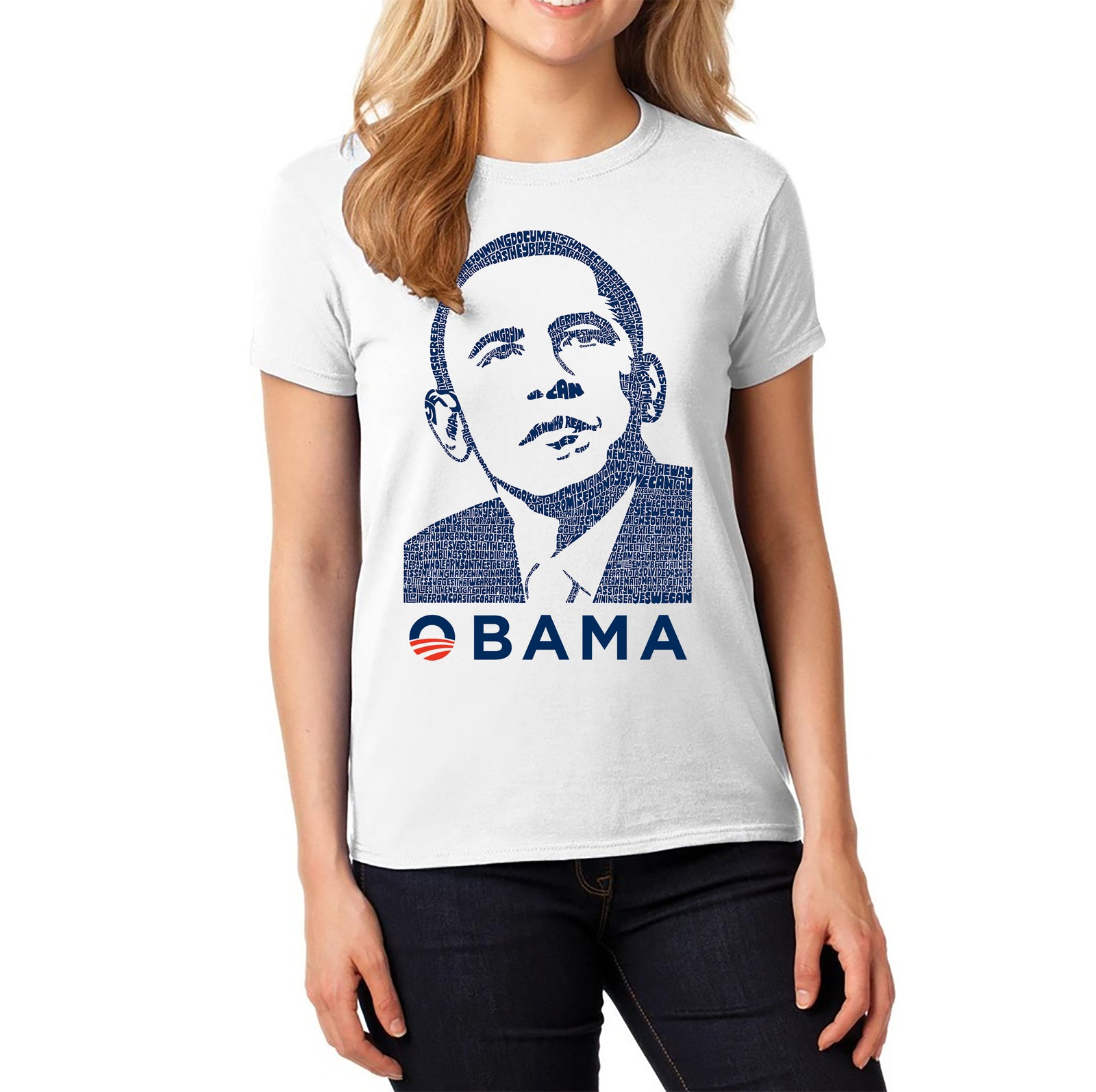 Women's Word Art T-Shirt - Obama