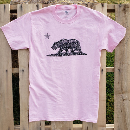 Men's Limited Edition T-shirt - California Bear Created Using Largest Cities in California