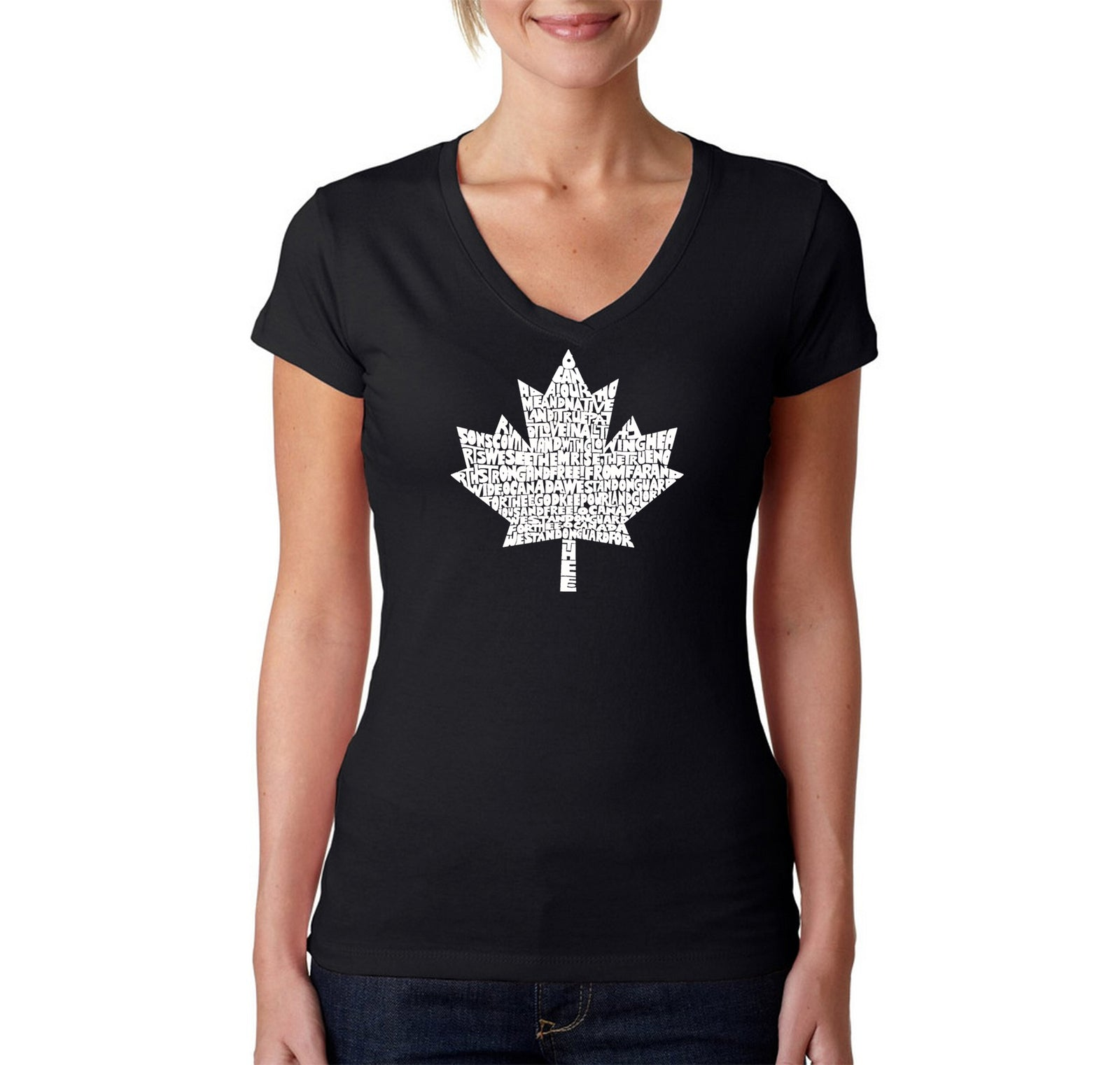 Women's V-Neck T-Shirt - CANADIAN NATIONAL ANTHEM