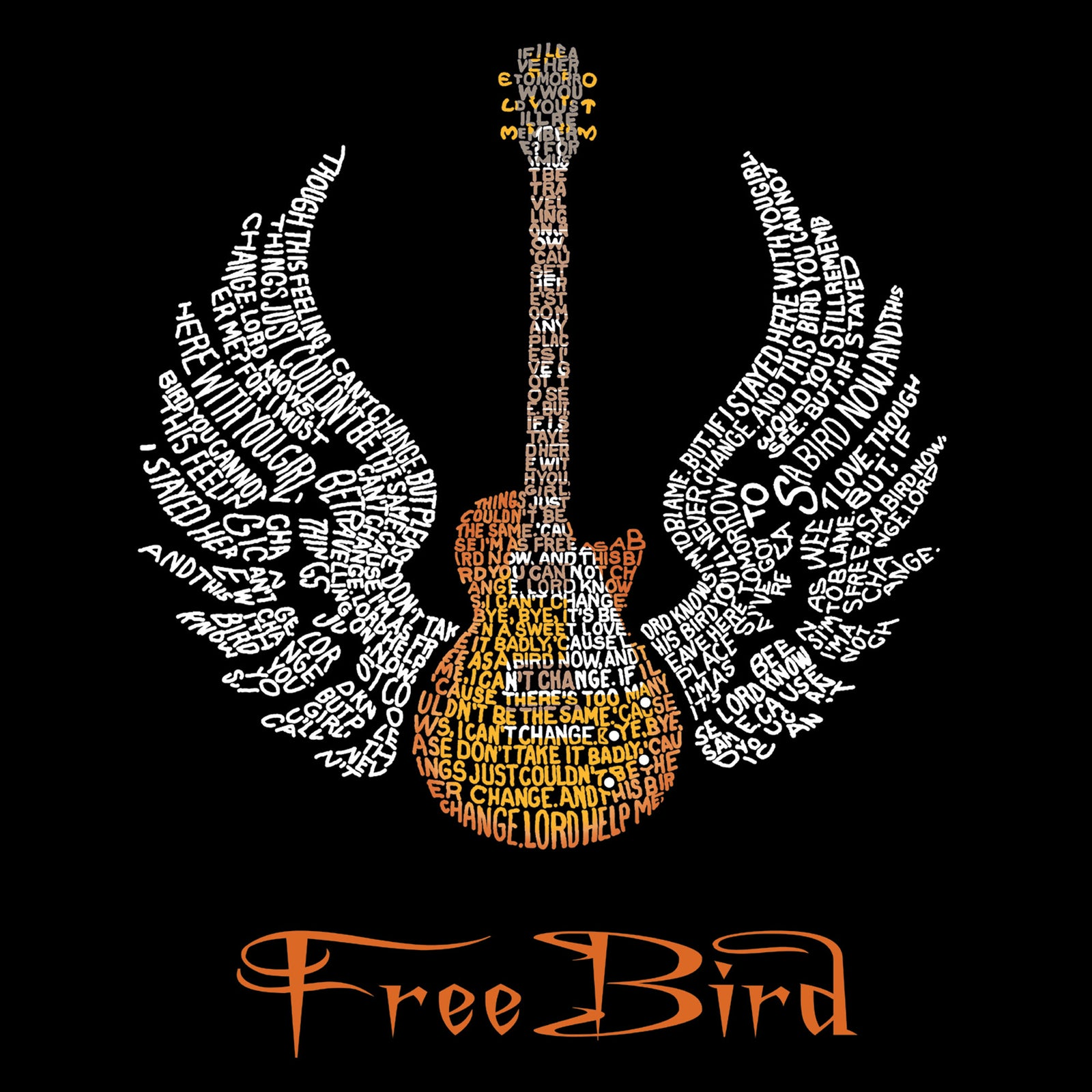Throw Pillow Cover - LYRICS TO FREE BIRD