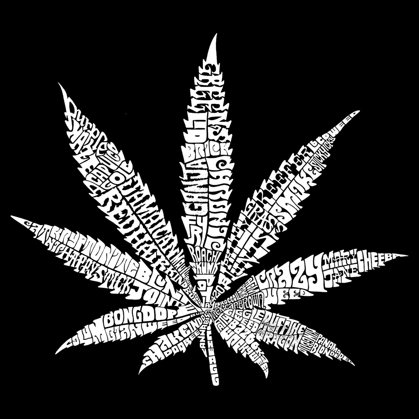 Throw Pillow Cover - 50 DIFFERENT STREET TERMS FOR MARIJUANA