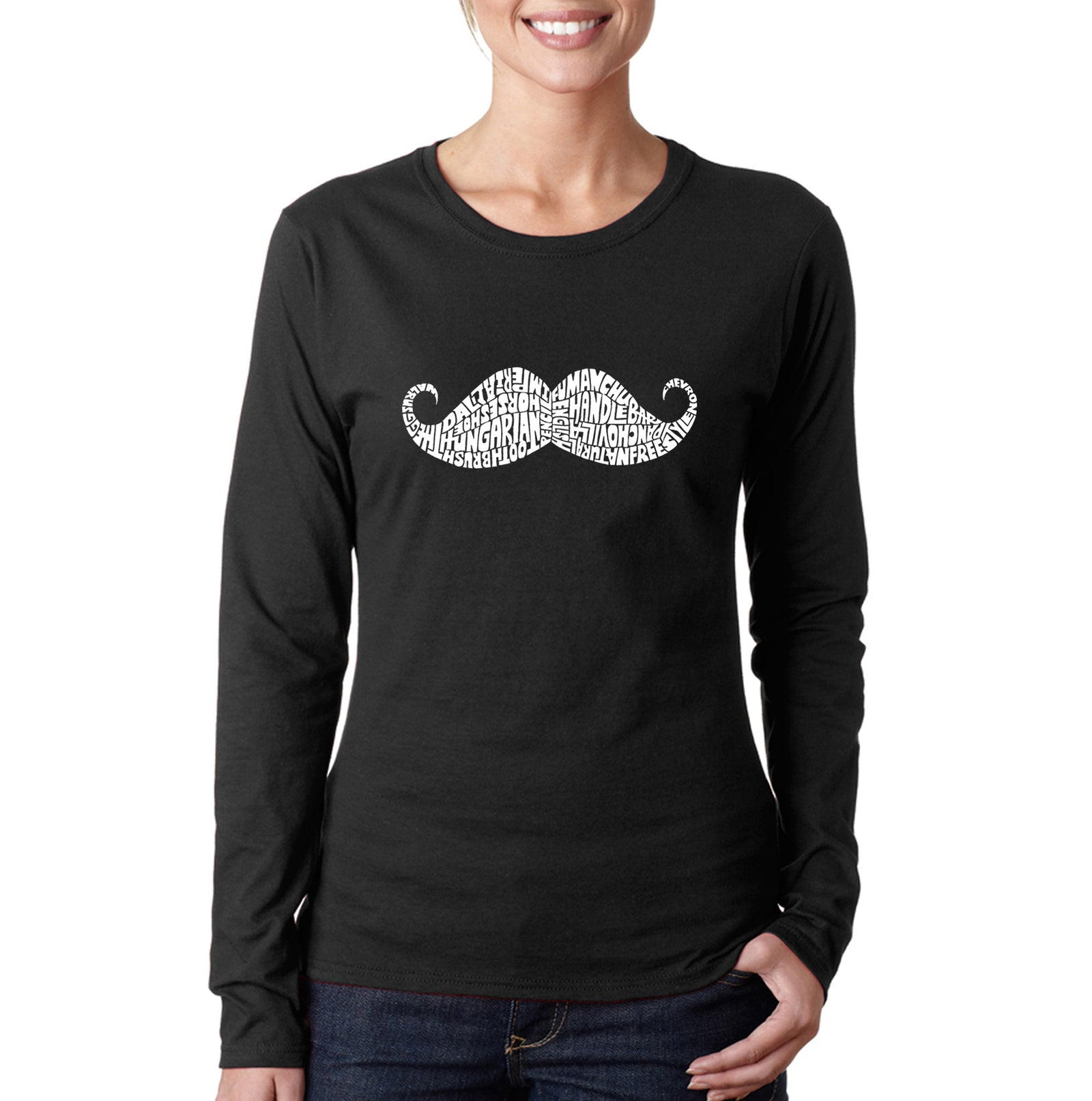 Women's Long Sleeve T-Shirt - WAYS TO STYLE A MOUSTACHE