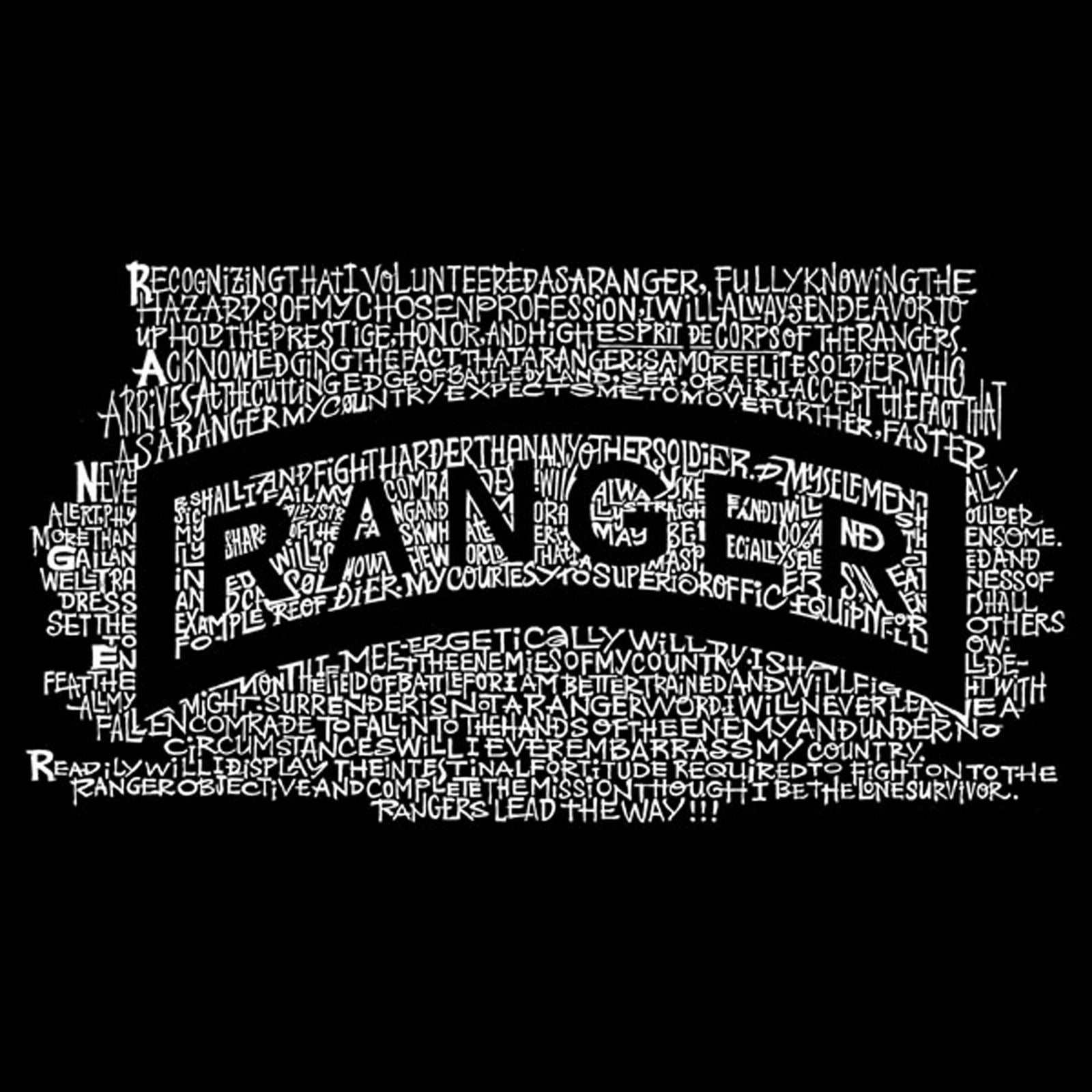 Men's Raglan Baseball Word Art T-shirt - The US Ranger Creed