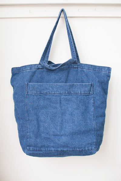 denim giant pocket tote