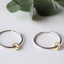 Silver hoop earrings with 9ct gold charm MUKA studio