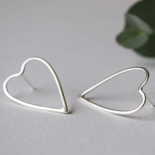 MUKA studio hand formed large heart earrings sterling silver butterfly backs