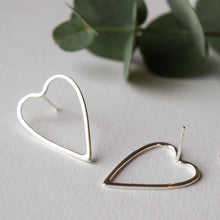 Handmade large open heart earrings sterling silver