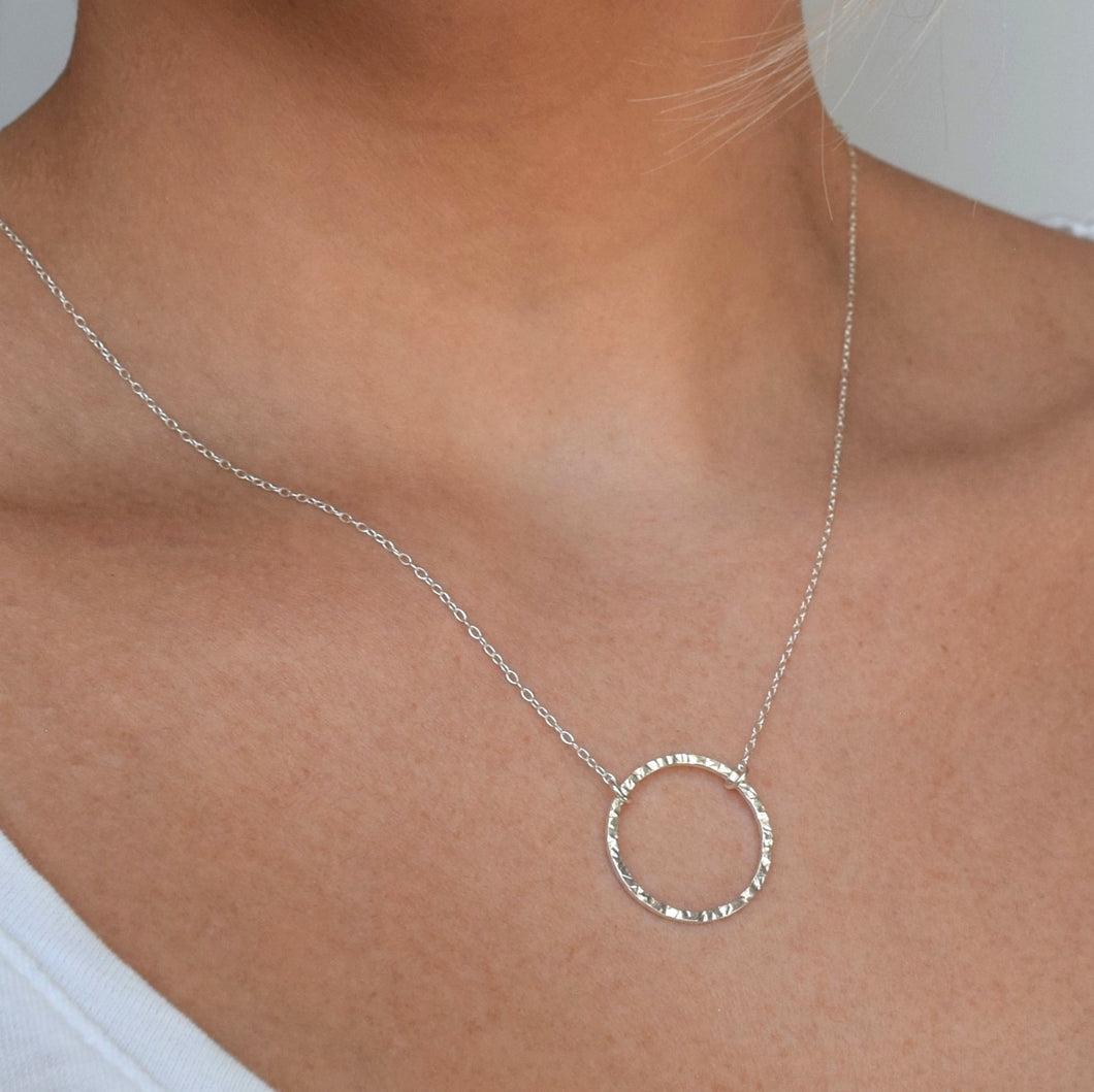 Textured silver circle necklace, length 18