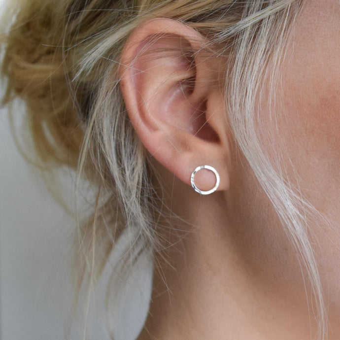 Dimple Hammered Circle Studs