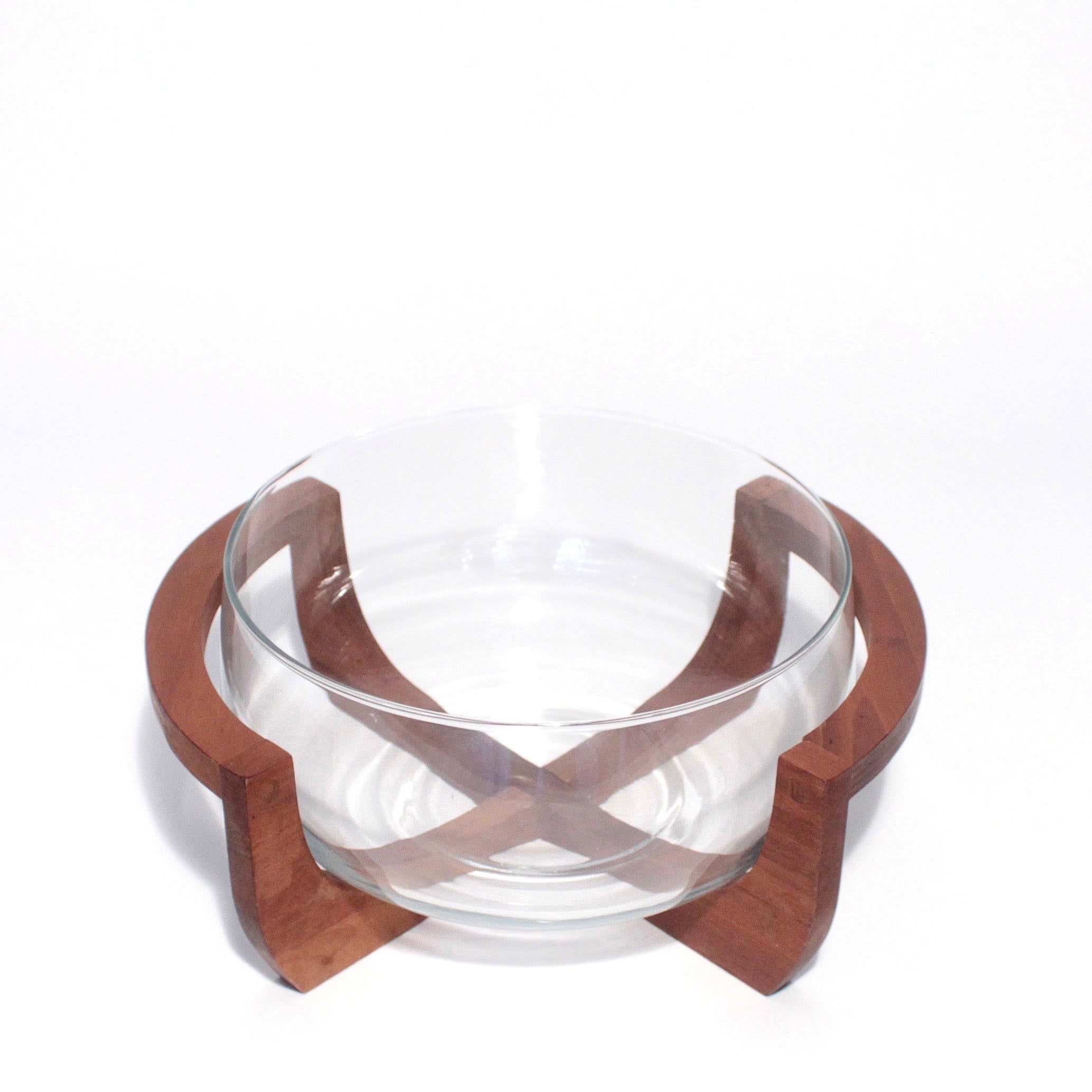 Large Glass Bowl with Teak Base