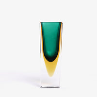 Murano Green Yellow Vase