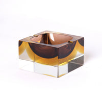 Murano Yellow Brown Ashtray
