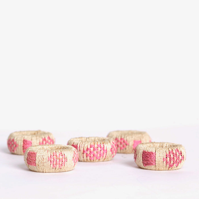Pink Wicker Napkin Rings (5)