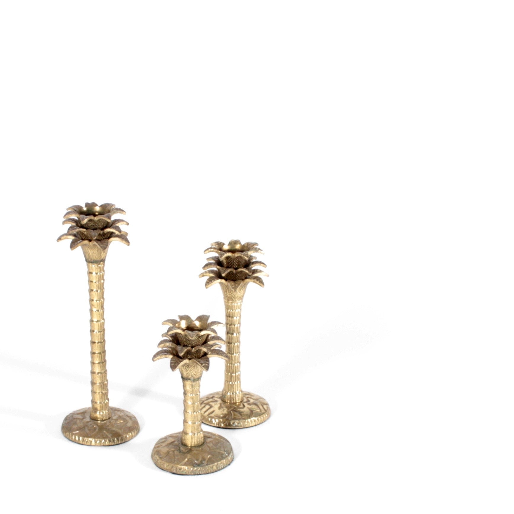 set of 3 Palm tree candle holders