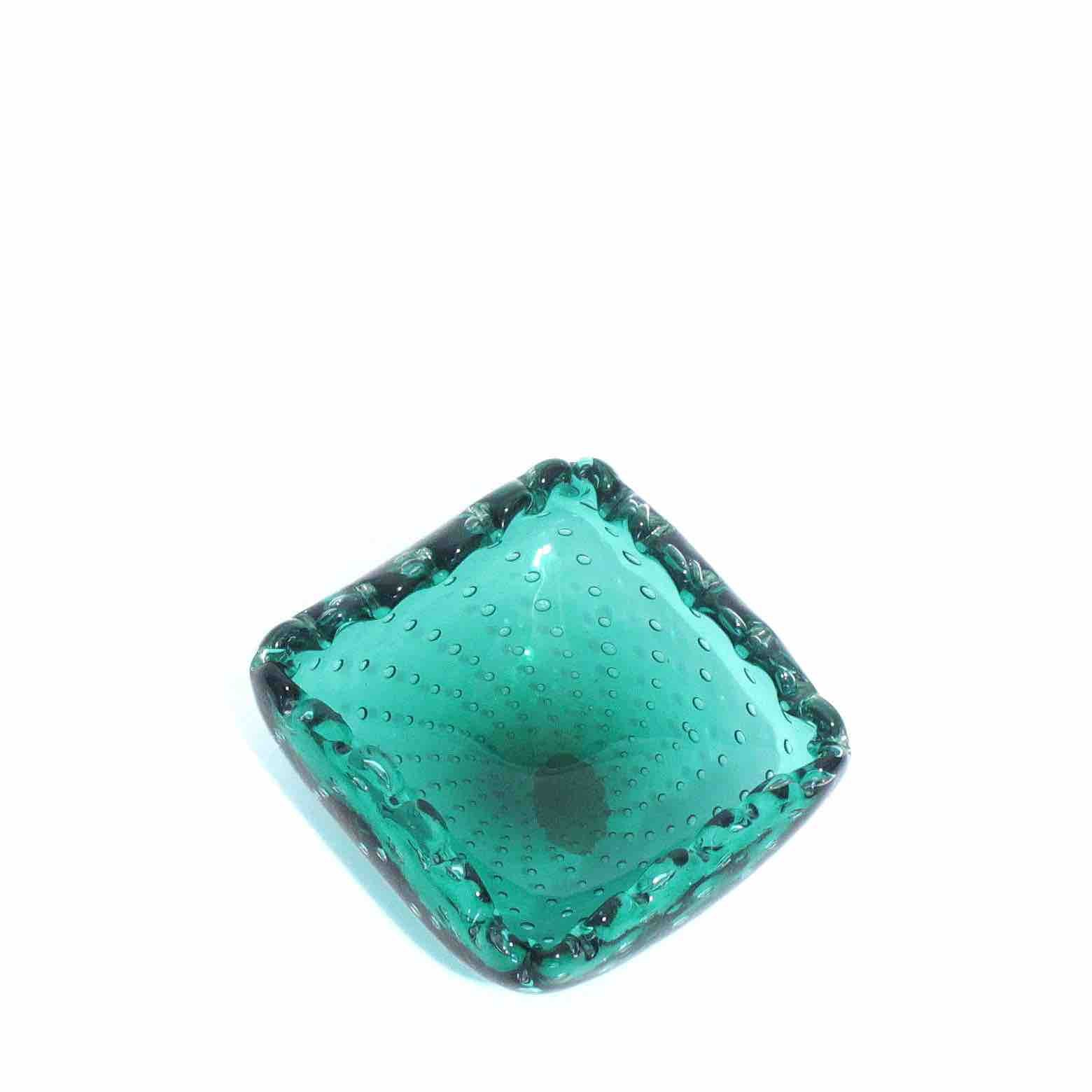 Emerald Green square murano ashtray