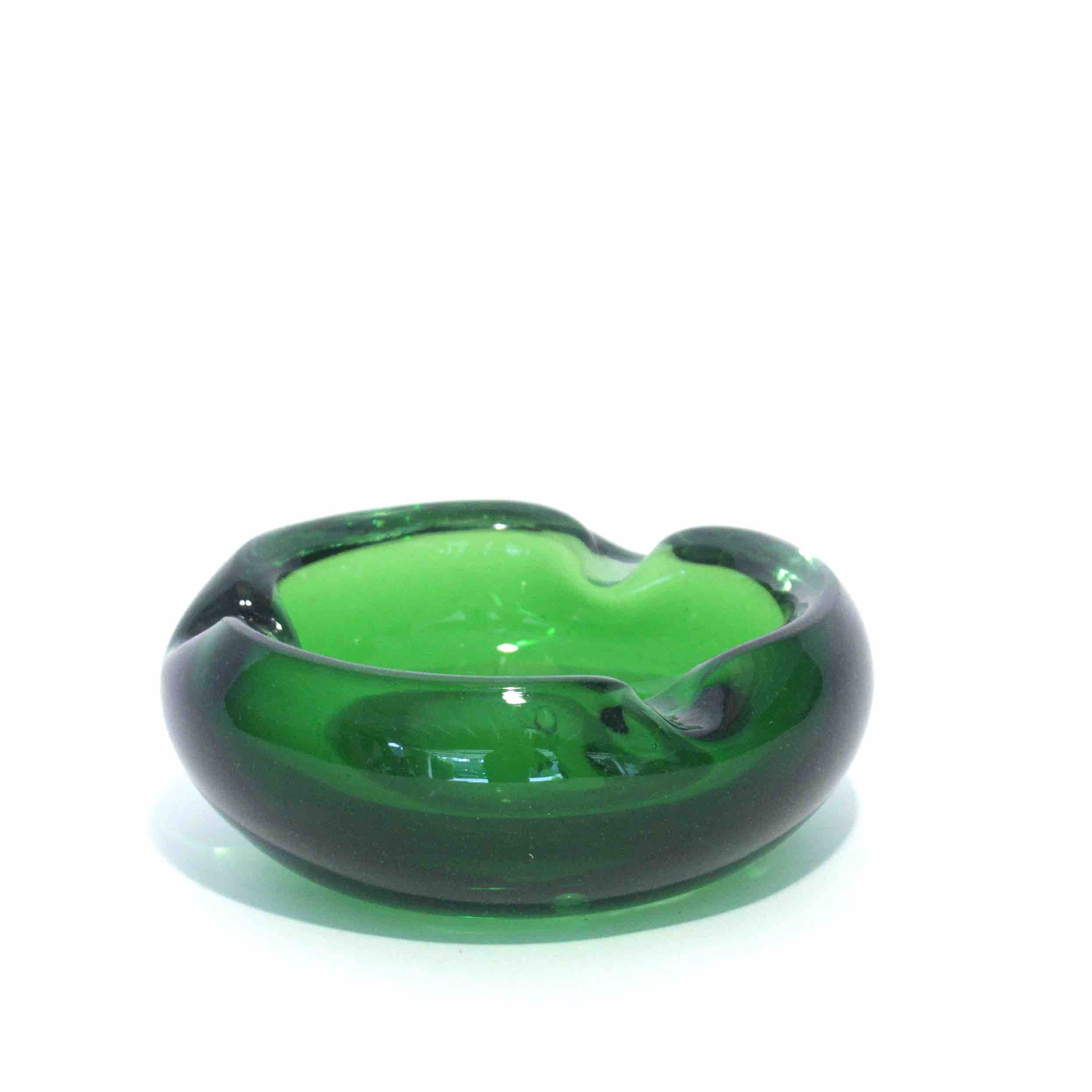 Green Glass art ashtray