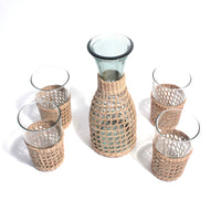 Set Pitcher and glasses with wicker sleeve