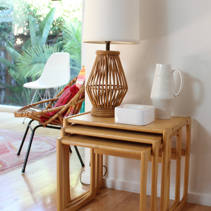 Caged Rattan Table Lamp
