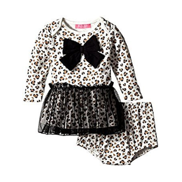 Leopard Skirted Dress Bodysuit with Diaper Cover