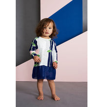 Navy Organic Flower Print Baby Dress