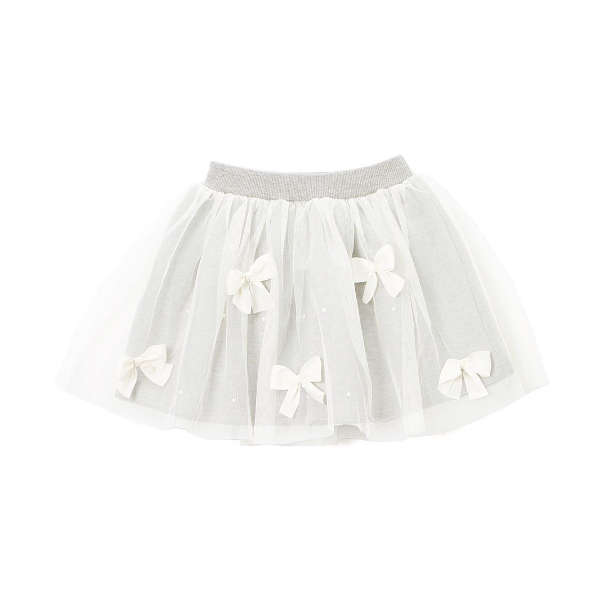Gray Bow Accent Circle Skirt