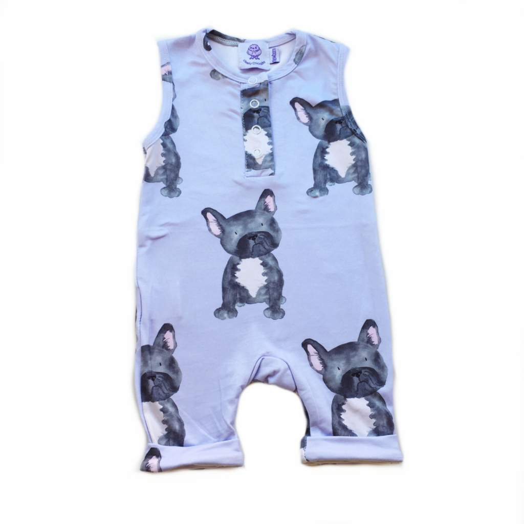 Lavender Frenchie Romper (3-6 months)