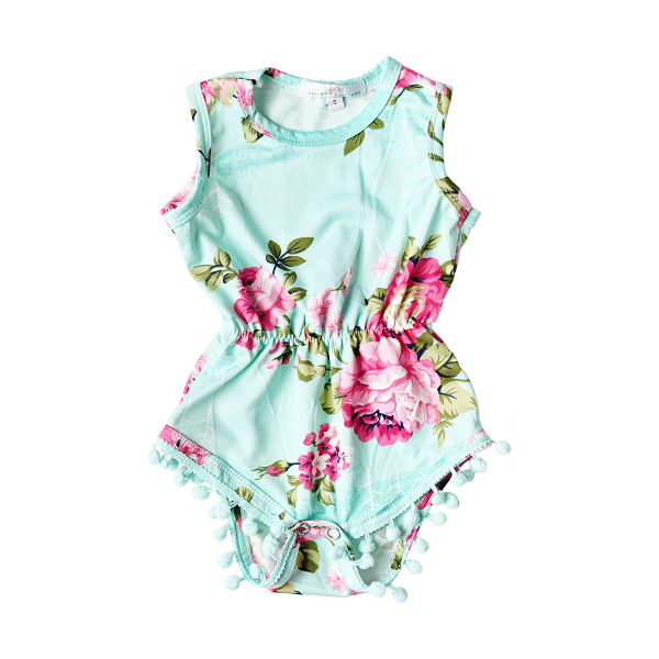Mint Pom Pom Romper (Only 2 Left)