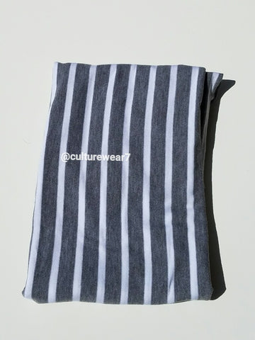Headwrap Gray & White Stripe