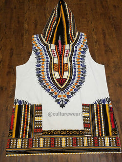 Dashiki Hoodie Sleeveless White