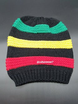 Rasta Hat Black/Red, Gold, Green stripes #12