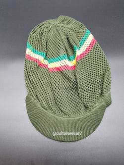 Rasta Hat w Brim Red, Gold, Green Stripe #16