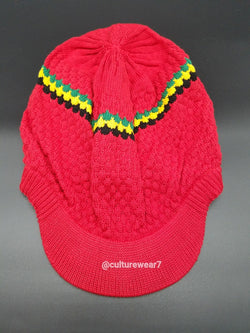 Rasta Hat Red/Red, Gold, Green stripe #56